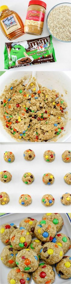 No Bake Monster Cookie Oatmeal Balls - the perfect after school snack - Easy Recipes & Dessert Lunch Snacks, Yummy Snacks, Delicious Desserts, Yummy Food, Kid Snacks, Bag Lunches, Work Lunches, School Lunches, After School Snacks