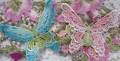 Lace Butterfly Turquoise Pink Green Hand Dyed by RavioleeDreams, $5.00