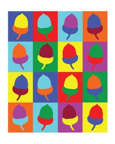 Multi-Color Pop Art Acorn digital art print by ImaginationBoxStore
