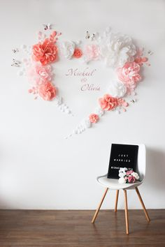 White Pink and Peach flowers Wall Backdrop - Paper flowers for Wedding wall backdrop - Party wall decorations - Paper flower set - Ideen finanzieren