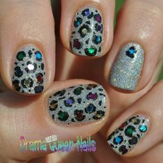 Glitter Kitty! China Glaze Glistening Snow with glequins. - @dramaqueennails