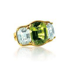Verdura   Products   RINGS   Three Stone Ring Peridoto y topacio azúl