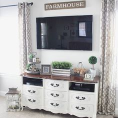 tv console decorating, dresser tv stand, dresser with tv, tv in bedroo Living Room Interior, Home Living Room, Living Room Decor, Bedroom Decor, Dresser In Living Room, Dresser Tv Stand, Dresser With Tv, Dresser Ideas, Tv Console Decorating