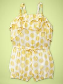I love a good romper.  Especially one with ruffles and yellow polka dots!