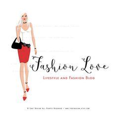 MODA amor personaje ilustrado Premade Logo Diseño-moda y