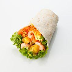 La Diabolique : wrap, crevettes, carottes râpées, sauce curry et ananas