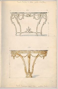 Page with two designs for a console table, both in Louis XVI style. The upper half of the page shows a design  for a white (vieux blanc) table with green marble entablature. It has four legs which are connected by a panel right above the feet