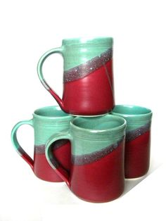 Set of 4 Large Handmade Ceramic Mugs   Two by crutchfieldpottery, $62.00