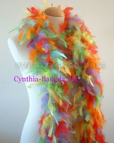 Yellow w// Orange tips 45 Grams Chandelle Feather Boa Dance Party Halloween