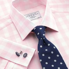 Aikin pink large gingham check dress shirt | Classic fit dress shirts from Charles Tyrwhitt | CTShirts.com