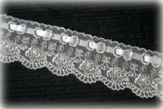 Ivory Italian Embroidered Lace with Ribbon Edging by TresorsdeLuxe, $7.49