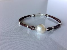 Glorious Large Kasumi Like Pearl With Sterling Silver On Leather Bracelet by LoveYourThreads on Etsy https://www.etsy.com/listing/159953001/glorious-large-kasumi-like-pearl-with