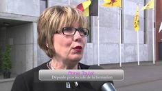Visite ministérielle sur le site de Hainaut Sécurité. Jan Jambon, Ministre de l'Intérieur est venu découvrir l'outil de formation des pompiers de la Province de Hainaut.