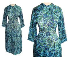 50's Blue & Green FLORAL Print Wiggle Dress // Vintage 1950's Knot Tie  // Draped Ruched // Bombshell Party Dress by TheVintageVaultShop on Etsy