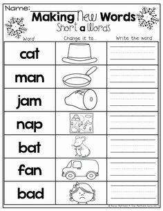 Kindergarten Language Arts, Kindergarten Literacy, Literacy Centers, Short A Worksheets, Free Phonics Worksheets, Printable Worksheets For Kindergarten, Worksheets For Grade 1, Rhyming Worksheet, Rhyming Activities