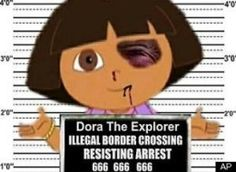 Dora The Explorer Illegal Immigrant or Ethnic American born and raised here? Here's a hint… She speaks Spanish with a slight American Accent… Kinda like MANY U.S. Latinos (Hispanic-Americans born and raised here)