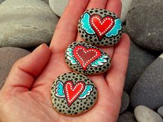 Winged Heart Magnets / Painted Rocks / Sandi by LoveFromCapeCod, $25.00