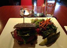 Caravan of Dreams' Rosemary Shitake Mushroom Burger is a little bit of Vegan Heaven in your mouth!