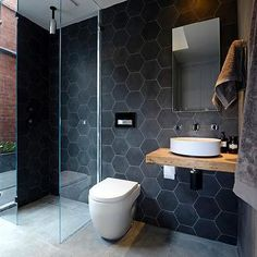 Black Hex Tiles, Modern, bathroom, The Block Glasshouse