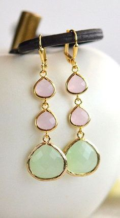 Light Mint and Soft Pink Long Jewel Earrings in Gold