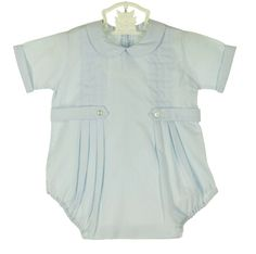 NEW Pastels by Feltman Brothers Robins Egg Blue Romper with Front Pleast and Buttoned Tabs $60.00 #FeltmanBrothersRomper