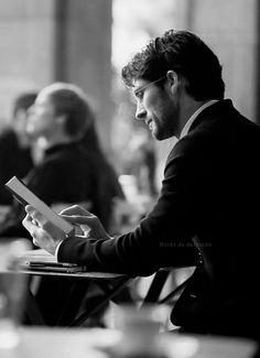 Imagine he's reading something good; cafe; books; reading; hot guy; coffee http://www.pinterest.com/SheriJaus/book-cafe/