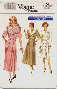 90s Vogue Pattern 7723 Womens Lace Collar Blouson by CloesCloset, $10.00