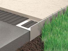 Proside Walk - Este un profil realizat din aluminiu, care are rolul de a face o inchidere eleganta si practica la imbinarea aleilor si teraselor cu zonele de pamant sau cu pietris decorativ. Se placheaza cu placi ceramice de grosimi medii: gresie, marmura, granit, etc. si care pot acoperi un interval de grosimi cuprins intre 10mm si 15mm.