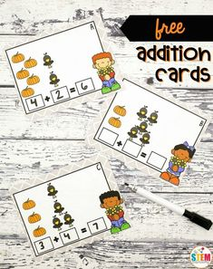 FREE Pumpkin Patch Addition Cards! A fun way for kindergarten and first grade kids to work on addition problems this fall! A great autumn math center! #fallmathfreebies #additionfreebies #fallmathcenters #theSTEMLaboratory