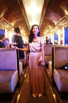 Nicole Warne  -  Kate Sylvester dress, Samantha Wills earrings, vintage belt, Louis Vuitton clutch and thrifted heels.  (Shanghai Louis Vuitton AW 12/13 show, 2012)