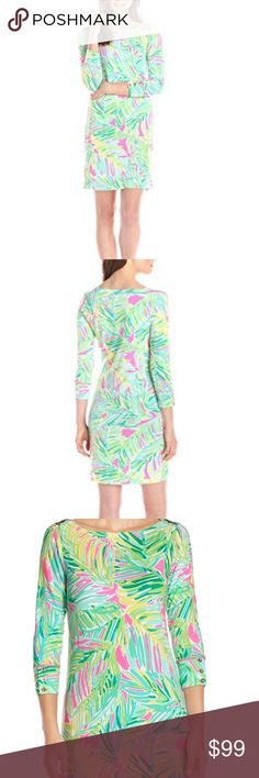 🎉🎉HP🎉🎉Lilly Pulitzer Women's Sophie Dress L Lilly Pulitzer Women's UPF 50 Plus Sophie Dress, Tropical Pink/Tropical Storm - Super Comfy discontinued style Lilly Pulitzer Dresses Midi