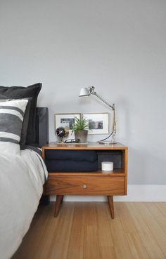 Bryan & Sarah's Vintage Modern Home & Studio House Tour | Apartment Therapy...I WANT THESE NIGHTSTANDS #bedroom