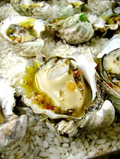 A simple recipe for cooking your oysters under a broiler with a zesty sauce. Perfect for a fancy dinner party or romantic dinner date. Seafood Dishes, Fish And Seafood, Seafood Recipes, Cooking Recipes, Antipasto, Charbroiled Oysters Recipe, Baked Oyster Recipes, Grilled Oysters, Louisiana Recipes