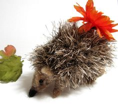 Needle felted hedgehog crochet hedgehog small hedgie by nodsu, $60.00