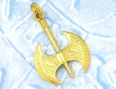 Greek Jewelry :: 14k Gold Pendants :: Ancient Greek Pendants :: Gold Minoan Axe Pendant -