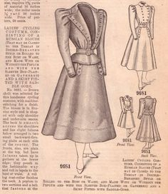 bicycling costumes illustrations from the 1898 Glass of Fashion Cycling Suit, Bike Suit, Cycling Gear, Cycling Jerseys, Historical Costume, Historical Clothing, Bicycle Illustration, Bicycle Clothing, Cycle Chic
