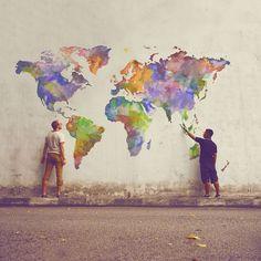 Urbane Kunst/Straßenmalerei/Wandmalerei - Urban Art/Street Art/Murals Marspet - The world is colorfu Art And Illustration, Graffiti Art, Urbane Kunst, Grafiti, Inspiration Art, Land Art, Art Design, Public Art, Oeuvre D'art