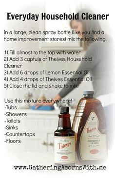 Everyday Household Cleaner Recipe using Young Living Essential Oils. My absolutely favorite household cleaner! Essential Oils Cleaning, Lemon Essential Oils, Essential Oil Uses, Young Living Oils, Young Living Essential Oils, Thieves Household Cleaner, Thieves Cleaner, Household Cleaners, Living Essentials