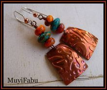 Embossed Copper and Dyed Imperial Jasper Beads Earrings