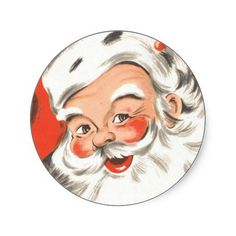 Vintage Christmas Jolly Merry Santa Claus with Hat Round Sticker