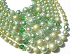 Redesigned vintage soft green tones pearls and by cbcollection, $150.00