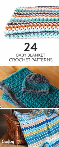 Make one of these adorable crochet baby blankets for a special little one. Choose from 24 different patterns!