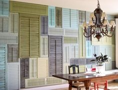 Shutter wall!  This is the color pallet I'd like to use in the homeschool room...