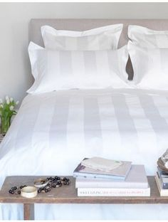 Our Luxury White Striped Bedding is crafted from cotton yarns with a shimmering sateen finish and subtle stripe design. Shop white bedding here.