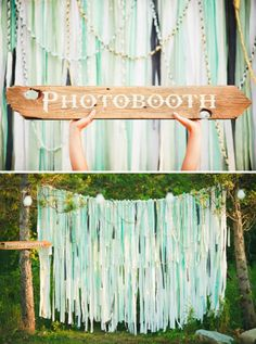Outdoor photo booth. Pretty backdrop of ribbons and lace and pom-pom garland. Pastel mints and peach.