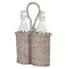 Washed Willow Carrier & Glass Bottles