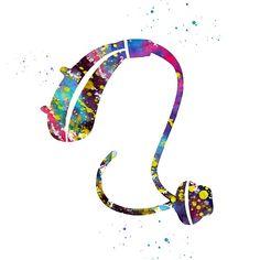 'Hearing Aid' by erzebetth Throat Anatomy, Aids Poster, Deaf Sign, Dental Art, Medical Art, Hearing Aids, Science Art, Watercolor Print, Wallpaper