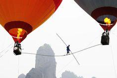 WORLD RECORD 100 meters high between 2 HOTAIR BALLONS