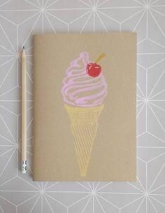 Ice Cream Journal Travel Notebook Lino Print Sketchbook