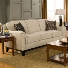 Coaster Carver Sofa with Exposed Wood Base in Beige Chenille - transitional - sofas - cymax Discount Furniture, Stickley Furniture, Discount Furniture Stores, Coaster Furniture, Cheap Furniture Stores, Furniture, Living Room Sofa, Home Decor, Sofa Decor